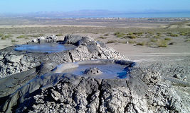 Éclatement des volcans de boue de bulle, Gobustan Azerbaïdjan Image stock