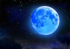 Éclipse de lune bleue sur le ciel étoilé de nuit Phénomène naturel astronomique Photographie stock