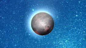 Éclipse lunaire avec le papier peint de fond d'effet de la lumière photographie stock libre de droits