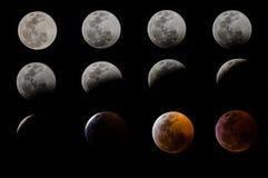 Éclipse lunaire totale à Mexico, le 21 janvier 2019 image stock