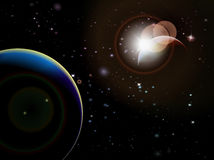 Éclipse - scène de l'espace d'imagination avec le fond noir Image stock