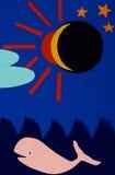 Éclipse solaire et la baleine photographie stock libre de droits