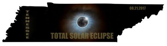 Éclipse solaire totale en Tennessee Map Outline Etats-Unis Images libres de droits