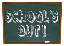 École à l'extérieur - écrit sur le tableau Image stock
