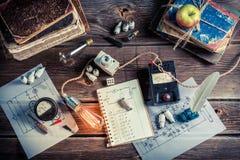 École électrique de laboratoire de vintage photos stock