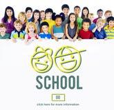 École apprenant étudiant le concept de la connaissance d'éducation Images stock