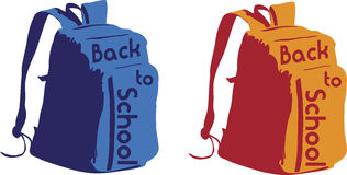 école arrière de sac à dos à Image stock