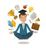 École, concept d'université Étudiant drôle s'asseyant dans la pose de lotus Illustration de vecteur Image libre de droits