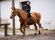 École d'équitation de garçon Photographie stock