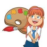 École de brosse colorée par palllete heureux de fille Photographie stock libre de droits