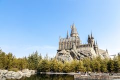 École de Hogwarts en Harry Potter Attraction Zone dans le studio universel Japon photo libre de droits