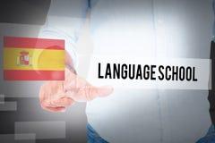 École de langues contre la pièce blanche abstraite Images libres de droits
