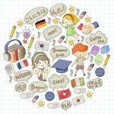 École de langues pour l'adulte, enfants Cours d'enfants L'anglais, Italien, espagnol, japonais, chinois, arabe, allemand Jouer illustration libre de droits