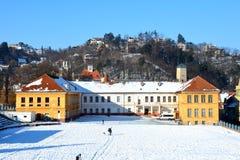 École de sport Paysage urbain typique de la ville Brasov, la Transylvanie Photos stock