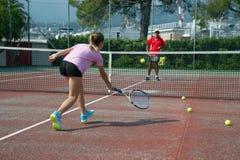 École de tennis extérieure Photo stock