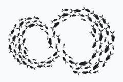 École des poissons Un groupe de poissons de silhouette nagent en cercle Espèce marine Illustration de vecteur tatouage Illustration de Vecteur