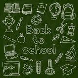 École et ensemble d'éducation d'icônes tirées par la main dessus Photos stock