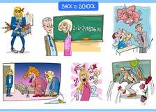 École et ensemble humoristique de carton d'éducation Image stock