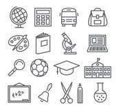 École et ligne icônes d'éducation Photographie stock