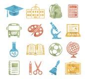 École et style d'aquarelle d'icônes d'éducation Image libre de droits