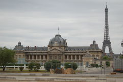 École Militaire and the Eiffel Tower in Paris, France. École Militaire with the Effiel Tower in the background in the 7th arrondissement in Paris, France Stock Images