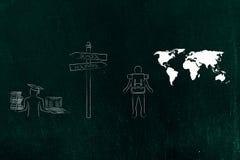 École ou panneau routier de vacances avec l'étudiant et le voyageur illustration de vecteur