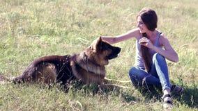 Écoles de femelle de berger allemand de chien banque de vidéos
