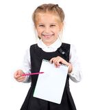 Écolière avec le carnet Photographie stock libre de droits