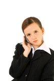 Écolière avec le téléphone portable Photos libres de droits