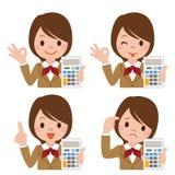 Écolière avec une calculatrice Images stock