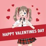 Écolière de fille de Manga d'Anime dans une jupe rouge illustration libre de droits