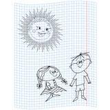 Écolière et écolier illustration de vecteur