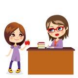 Écolière et professeur illustration libre de droits