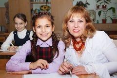 Écolières et professeur Photo libre de droits