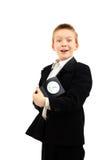 Écolier avec l'horloge Photos stock