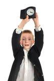 Écolier avec l'horloge Images stock