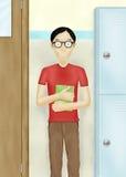 Écolier avec le livre à l'école Image stock