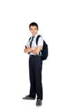 Écolier avec une serviette d'isolement Photo libre de droits