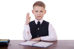 Écolier caucasien à son bureau sur le fond blanc avec la copie s Image stock