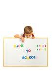 Écolier indiquant la bannière Images stock