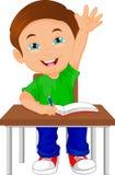 Écolier s'asseyant sur la table Photographie stock libre de droits