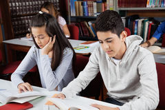 Écoliers étudiant dans la bibliothèque Photos libres de droits