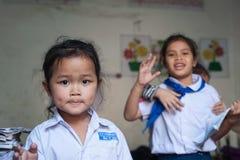 Écoliers au Laos Images libres de droits