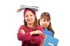 Écoliers avec des cahiers de travail Image stock