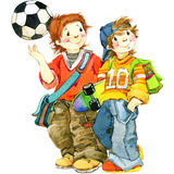 Écoliers et de nouveau au fond d'école pour l'illustration d'aquarelle de célébration Image stock