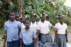 Écoliers haïtiens dans Robillard Images libres de droits
