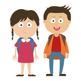 Écoliers, un garçon et enfants de fille Photos stock