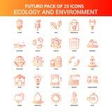 Écologie de Futuro 25 et ensemble oranges d'icône d'environnement illustration stock
