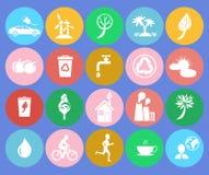 Écologie enregistrant les icônes colorées rondes orientées Image stock