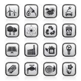 Écologie, environnement et icônes de réutilisation Photo stock